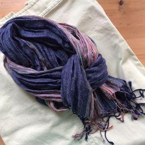 Accessories - Gauze blue and multi-colored scarf with fringe